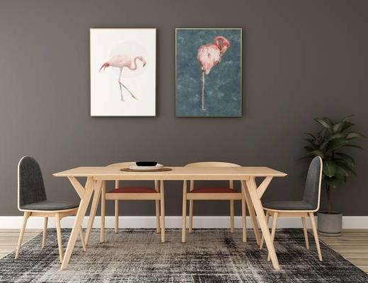 桌椅组合, 桌子, 椅子, 北欧