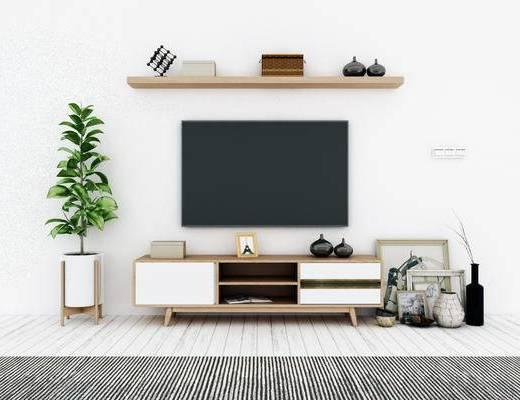 电视柜, 盆栽, 现代