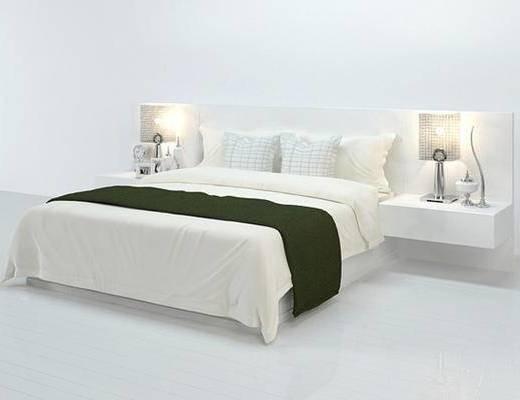 现代, 床, 双人床, 台灯, 床头柜