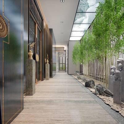 走廊过道, 门, 雕塑, 中式