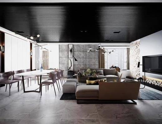 现代简约, 客餐厅, 沙发茶几组合, 桌椅组合, 吊灯