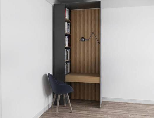 书柜, 桌子, 椅子, 壁灯, 现代