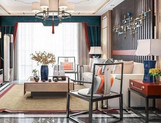 新中式, 客厅, 沙发茶几组合, 吊灯, 茶具, 墙饰