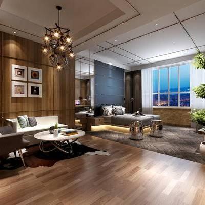 现代卧室, 双人床, 壁画, 吊灯, 椅子, 多人沙发, 茶几, 盆栽, 落地灯, 床头柜, 凳子, 现代