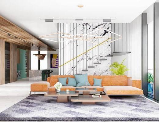 现代客厅, 多人沙发, 吊灯, 茶几, 吧台, 吧椅, 现代