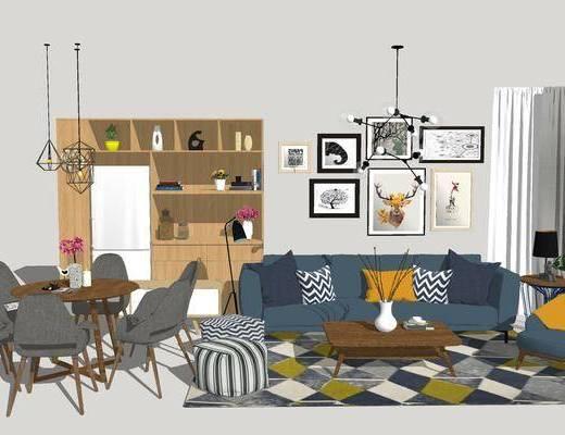 北欧客餐厅, 壁画, 吊灯, 桌子, 椅子, 置物柜, 茶几, 边几, 台灯, 北欧