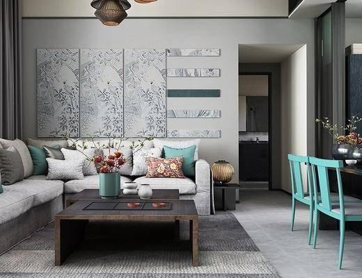 现代客餐厅, 吊灯, 壁画, 茶几, 桌子, 椅子, 多人沙发, 现代