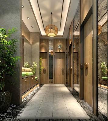 洗手间, 吊灯, 洗手台, 盆栽, 现代