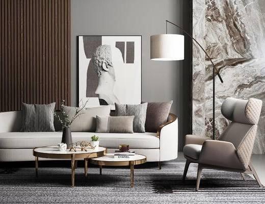沙发组合, 多人沙发, 茶几, 椅子, 落地灯, 壁画, 现代