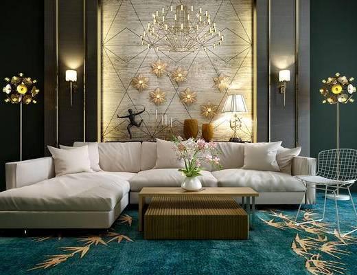 沙发茶几组合, 美式简约, 落地灯, 壁灯, 花瓶