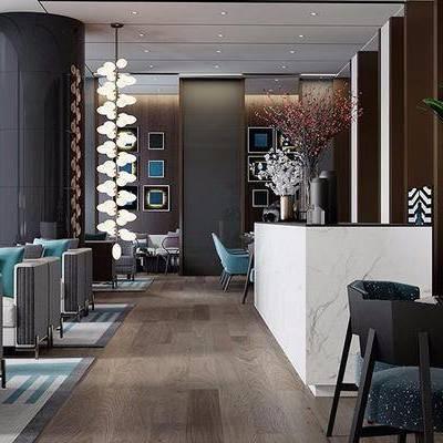 接待区, 多人沙发, 吊灯, 吧台, 吧椅, 桌子, 椅子, 落地灯, 花瓶, 地毯, 新中式