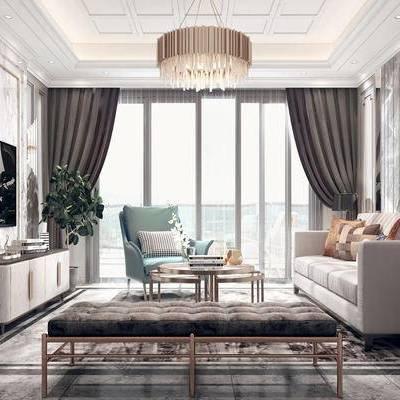 现代轻奢客厅, 客厅, 沙发组合