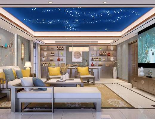 新中式影音室, 壁灯, 多人沙发, 茶几, 电视柜, 吧台, 置物柜, 台灯, 椅子, 沙发躺椅, 花瓶, 新中式