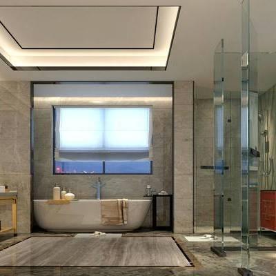 卫生间, 浴缸, 淋浴间, 壁画, 洗手台, 镜子, 柜子, 马桶, 现代