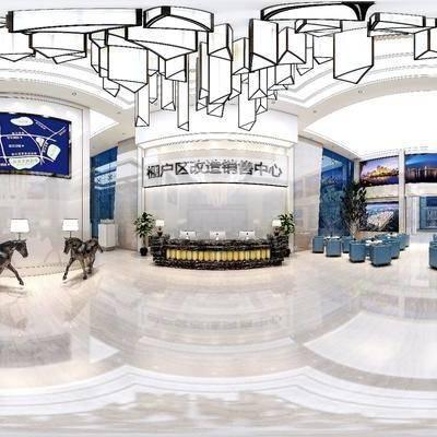 现代销售中心, 前台, 沙发桌椅组合, 多人沙发, 单人沙发, 台灯, 吊灯, 现代