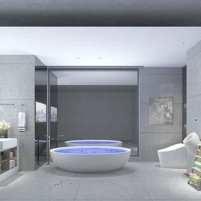 卫浴, 洗手台, 浴缸, 马桶, 储物架, 现代