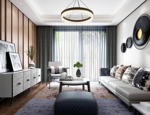 现代, 客厅, 沙发, 吊灯, 电视柜, 茶几, 盆栽, 墙饰, 椅子