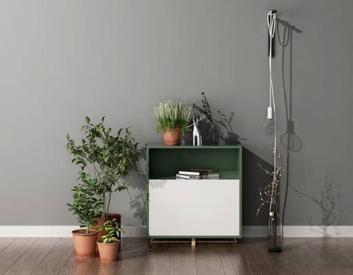 装饰柜, 盆栽, 北欧