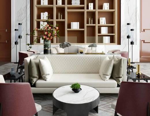 现代简约, 休闲区, 售楼处, 置物架, 陈设品组合, 沙发茶几组合