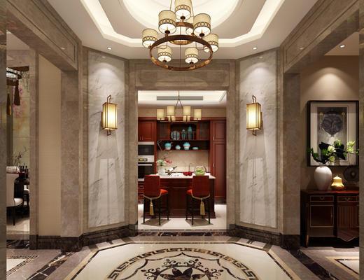 欧式, 古典, 餐厅, 桌椅组合, 吊灯, 壁灯