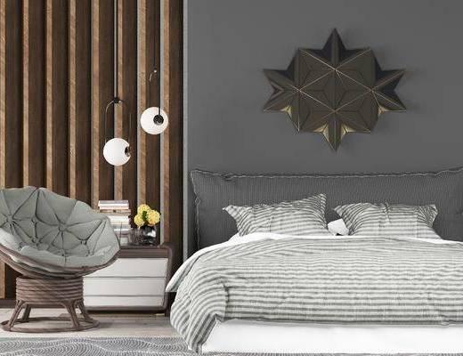 床具组合, 双人床, 床头柜, 吊灯, 椅子, 现代