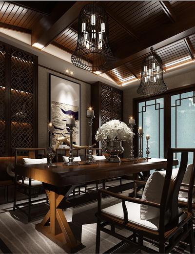 中式书房, 桌子, 壁画, 椅子, 吊灯, 置物柜, 花瓶, 中式