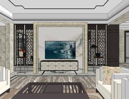 中式别墅, 多人沙发, 壁画, 茶几, 椅子, 置物柜, 桌子, 电视柜, 花瓶, 中式