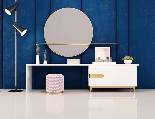 美式, 梳妆台, 白色, 凳子, 圆镜, 柜子, 落地灯