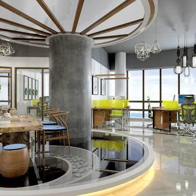 现代高层办公室, 办公桌, 办公椅, 吊灯, 壁画, 茶几, 桌椅组合, 盆栽, 现代