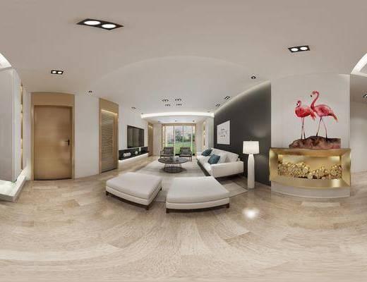 现代简约客厅, 现代沙发茶几组合, 落地灯, 壁画, 桌椅组合, 储物架, 沙发躺椅, 单人椅, 吊灯, 碗碟, 地毯, 现代