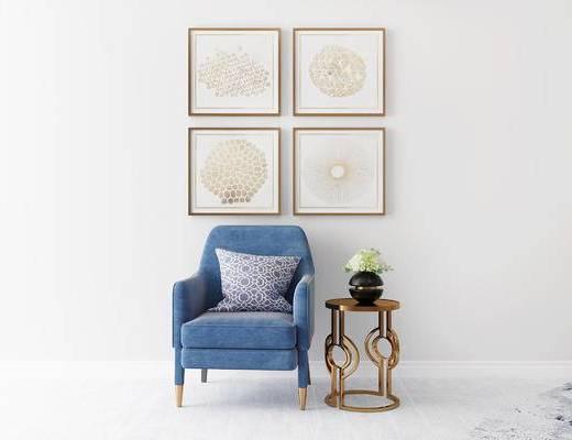 沙发组合, 单人沙发, 挂画, 圆几, 花瓶, 现代