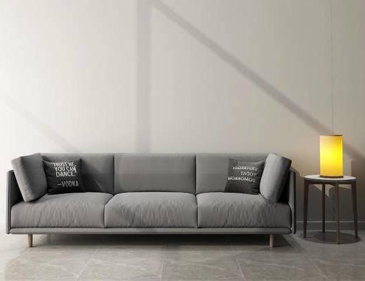 沙发组合, 多人沙发, 边几, 台灯, 现代