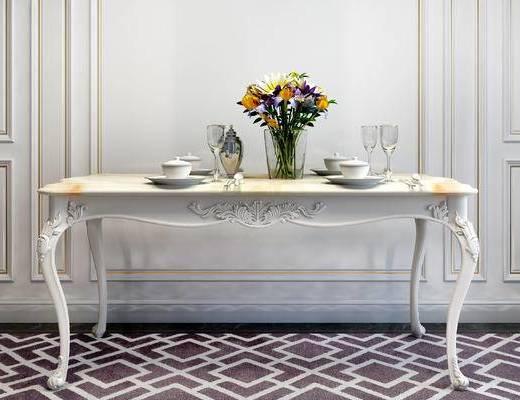 餐桌, 餐具, 花瓶, 简欧