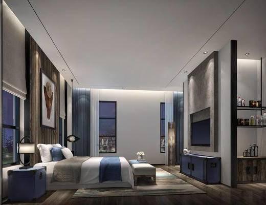 现代卧室, 双人床, 壁画, 电视柜, 床尾塌, 床头柜, 台灯, 现代