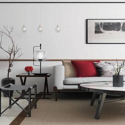沙发组合, 新中式沙发, 茶几, 壁画, 边几, 台灯, 盆栽, 新中式