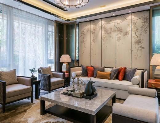 中式, 沙发茶几组合, 茶具组合, 吊灯