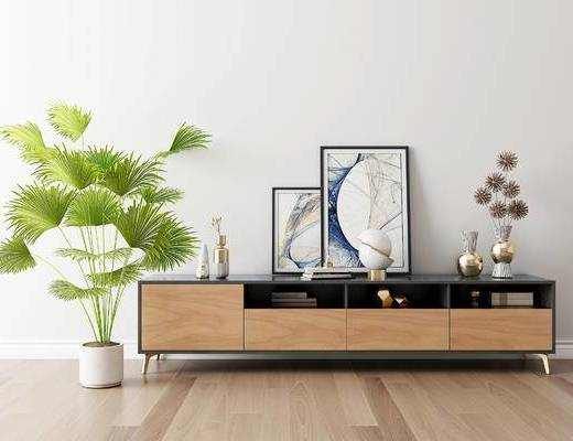 摆件组合, 电视柜, 装饰画, 盆栽, 现代