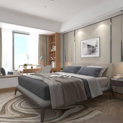现代卧室, 双人床, 飘窗, 边几, 吊灯, 壁画, 储物柜, 桌椅组合, 地毯, 现代