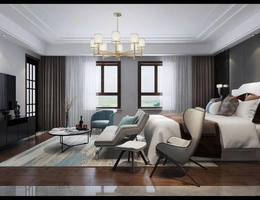 现代卧室, 沙发, 单人沙发, 吊灯, 电视柜, 卧室