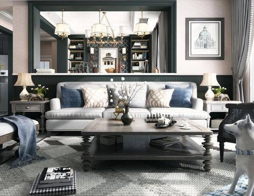 美式客餐厅, 美式沙发茶几组合, 边柜, 台灯, 沙发躺椅, 吊灯, 壁画, 橱柜, 楼梯, 储物柜, 地毯, 花瓶, 美式