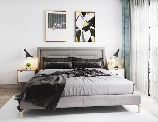 双人床, 挂画, 床头柜, 台灯, 床具组合, 北欧
