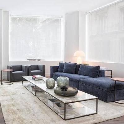 沙发组合, 茶几, 多人沙发, 边几, 椅子, 台灯, 现代
