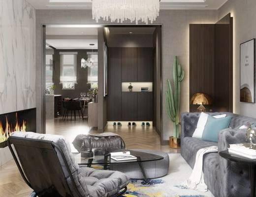 现代客厅, 多人沙发, 电视柜, 茶几, 桌子, 椅子, 吊灯, 壁画, 台灯, 置物柜, 现代