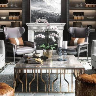 新古典客厅, 沙发, 茶几, 沙发凳, 置物柜, 椅子, 壁画, 新古典