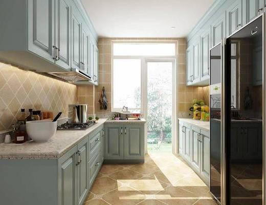 美式简约, 橱柜, 厨具组合, 冰箱, 厨房, 下得乐3888套模型合辑