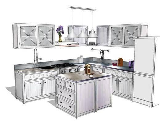 櫥柜, 廚柜, 廚房, 現代