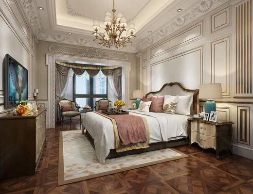 欧式卧室, 吊灯, 双人床, 边柜, 床头柜, 台灯, 椅子, 边几, 地毯, 欧式