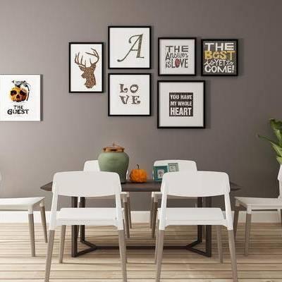 北欧餐桌, 桌子, 椅子, 壁画, 盆栽, 北欧