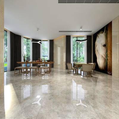 休闲室, 桌子, 椅子, 吊灯, 壁画, 新中式
