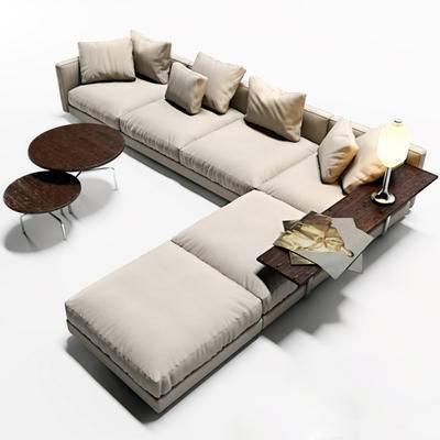多人沙发, 现代, 茶几, 抱枕, 沙发